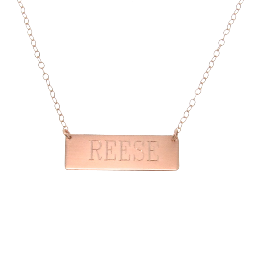 engravable 14k gold nameplate necklace yellow white or