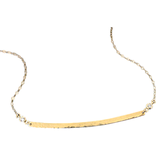14K GOLD Curved Bar Stick Necklace With Diamonds As Seen On Kristin Cavallari - Hand Forged, Hammered 14K Yellow or White Gold