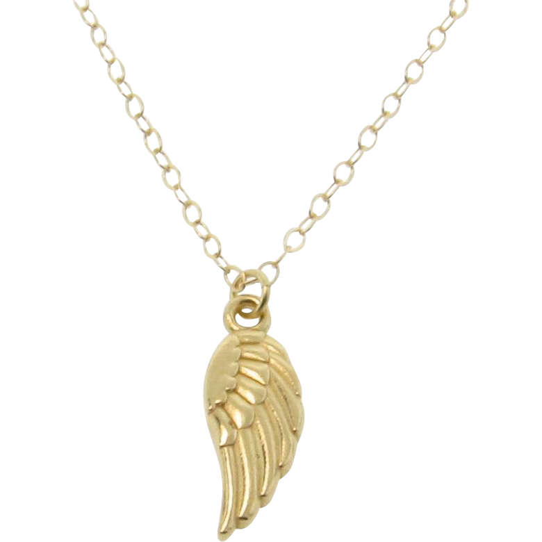 14k gold wing necklace small detailed wing