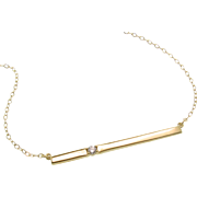 14K Gold Bar Necklace, With Diamond Thin Horizontal Stick Necklace, Celebrity Style - Cameron Diaz