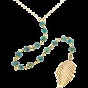 Lariat Necklace, Y Necklace Genuine Emeralds, Long Gold Filled Leaf Necklace, as Seen on Jennifer Anniston
