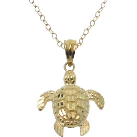 Gold Turtle Necklace, 14K Solid Gold Sea Turtle, As Seen On Jules, Courtney Cox, Of Cougar Town - Detailed Sea Turtle