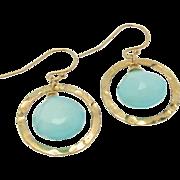 Aqua Chalcedony Earrings, Gold Filled Drop Earrings,Dangle Earrings, Hammered Rings, Luminous Faceted Chalcedony Gemstones