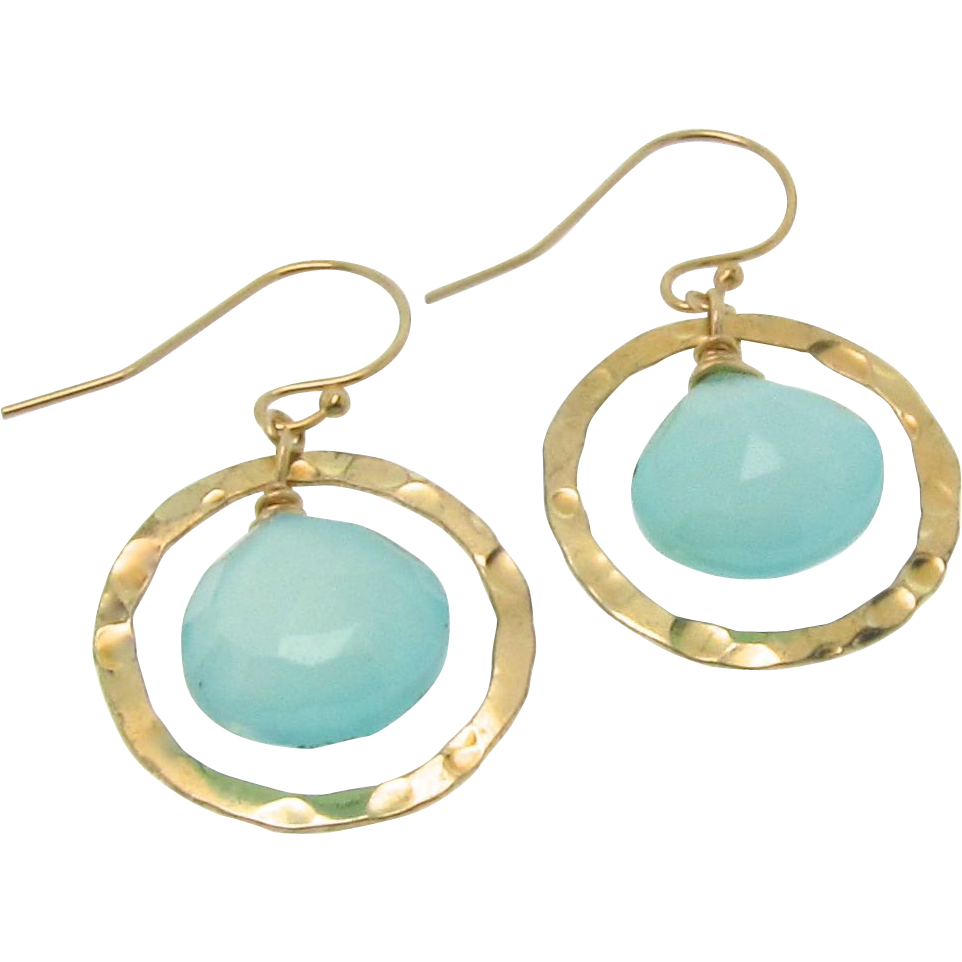 Aqua Chalcedony Earrings, Gold Filled Drop Earrings,Dangle Earrings, Hammered Rings, Luminous Faceted Chalcedony Gemstones