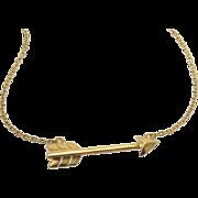 Gold Arrow Necklace - Sideways Cupid Arrow, Celebrity Style Jewelry, Emma Roberts