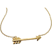 Gold Arrow Necklace - Sideways Cupid Arrow, Celebrity Style Jewelry, Emma Roberts