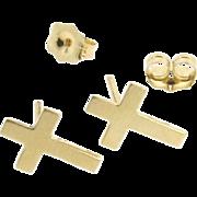 Gold Cross Earring Studs, Tiny Cross Stud Earrings in 14K Yellow Gold, Post Earrings
