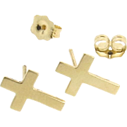 Gold Cross Earring Studs, Tiny Cross Stud Earrings in 14K Yellow Gold, Post Earrings