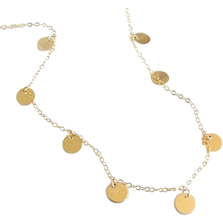 Gold Coin Drop Necklace, As Seen on Luxy Hair Videos - Mimi Ikonn, 14K Gold, Gold Filled, Rose Gold Filled Or Sterling Silver - Floating Dots