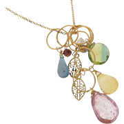 Gemstone Drop Necklace, Gold Filled Charm Necklace, Rose Quartz, Citrine, Dichroic Quartz, Kyanite