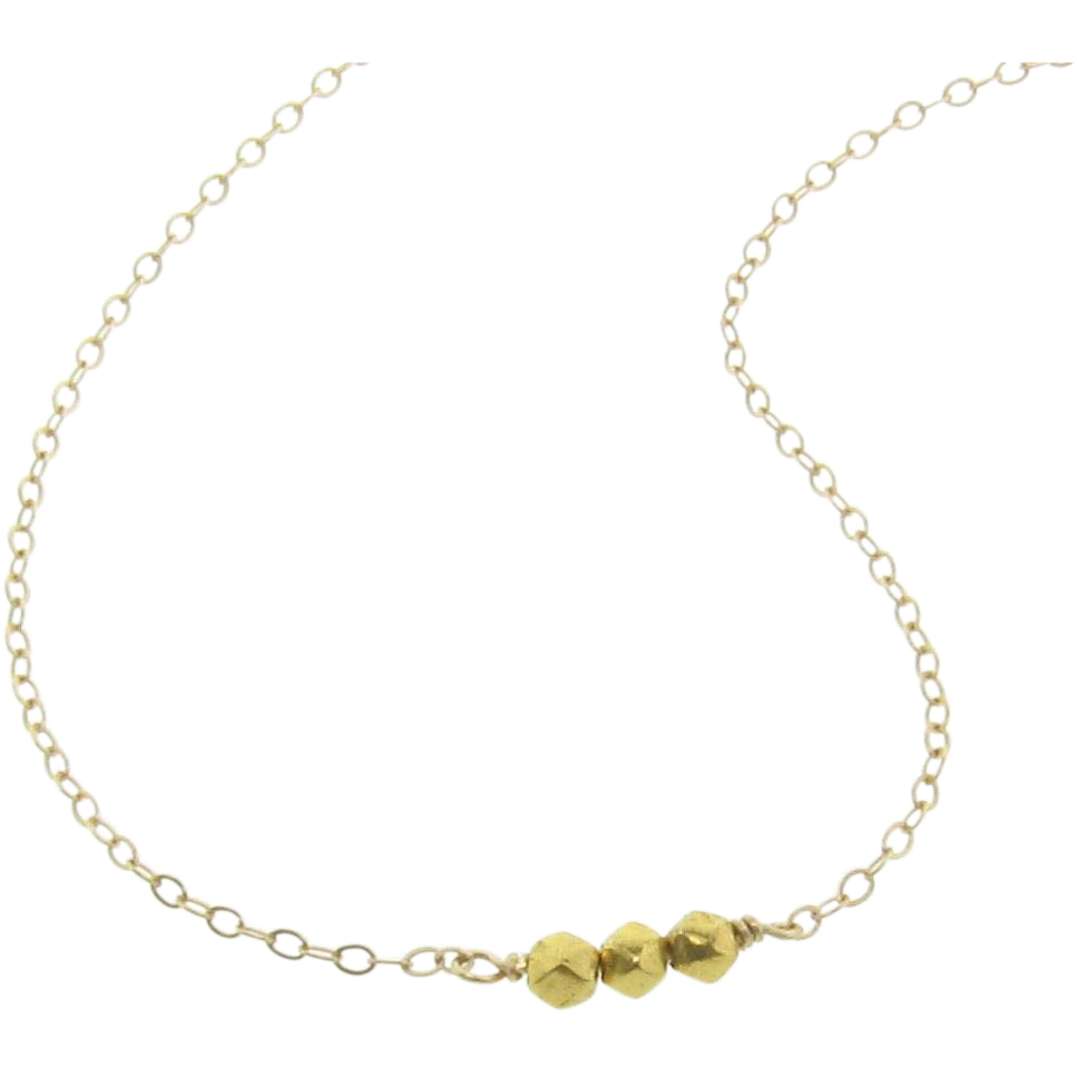 Tiny Gold Bead Necklace, 18k Solid Gold 3mm Faceted Beads - Delicate, Dainty, Minimal Layering Necklace by Theresa Mink