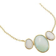 Aqua Chalcedony Necklace, Gold Necklace, Layering Necklace, Gemstone Necklace