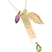 14K Gold Nameplate Necklace, Vertical Gold Bar Name Plate, Birthstone Necklace, Add a Charm Necklace, Layering Necklace