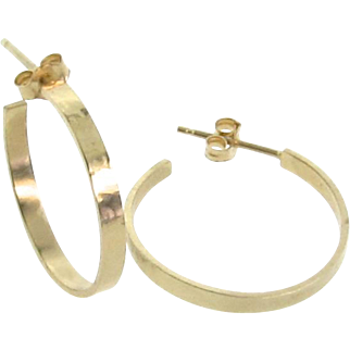 Gold Earrings, Gold Hoops, Small 14k Solid Gold Hammered Hoops With Posts by Theresa Mink