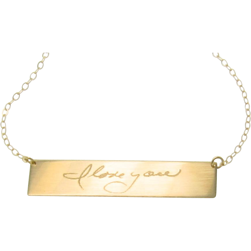 Gold Nameplate Necklace, YOUR Handwriting, Custom Handwritten 14K Gold Bar Necklace, As Seen on Kim Kardashian, Yellow White or Rose Gold