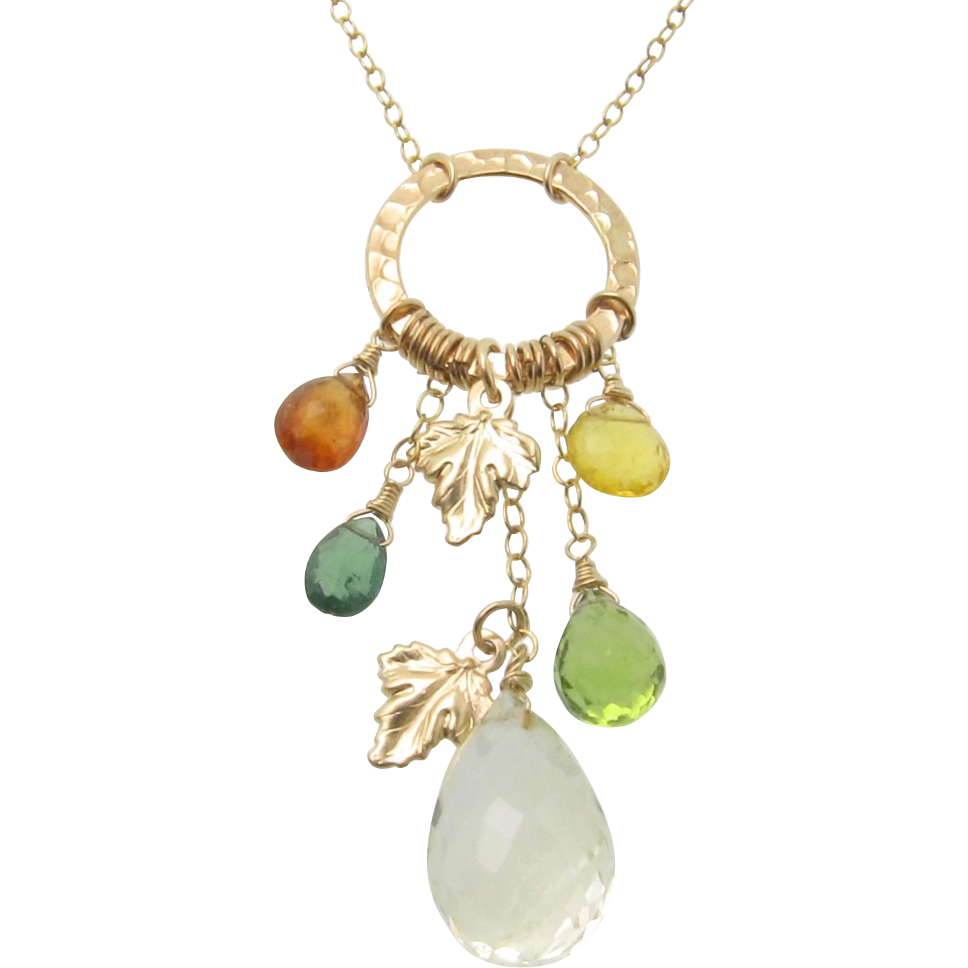 Autumn Leaves - 14.50 Carat Lemon Topaz, Mandarin Garnet, Green Apatite, Peridot, Yellow Opal 14K Gold Filled Necklace