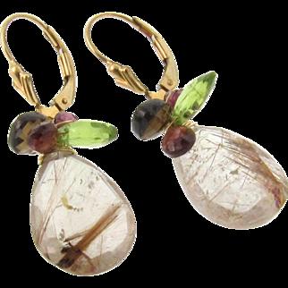 Gold Drop Earrings, Gemstone Earrings, 20 Carats Golden Brown Rutilated Quartz, Garnet, Peridot, Smoky Topaz - 14K Gold Filled Lever Back Earrings
