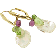 Petal Pearl Earrings, 14k Solid Gold, Lustrous Snowflake Pearls, Rhodolite Garnet, Peridot, Green Tourmaline Drop Earrings