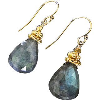 Labradorite Earrings, Large, Luminous Labradorite Vermeil And Gold Filled Drop Earrings