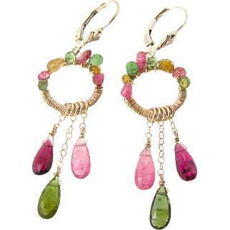 Watermelon Tourmaline Dangle Earrings, Sterling Silver Wire Wrapped Chandelier Earrings