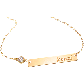 Nameplate Bar Necklace With CZ, 14/20 Gold Filled Bar Necklace, Includes Engraving, Personalized As Seen on Kim Kardashian Also in Sterling Silver
