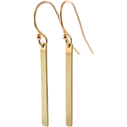 GOLD Bar Earrings - 14K Solid Yellow, White or Rose Gold Dangle Earrings, Smooth or Hammered,