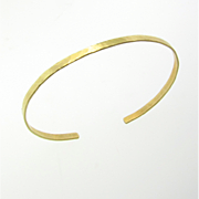 Gold Cuff Bracelet, Thin 14K Gold Hammered Bracelet, 14K Yellow, White, or Rose Gold