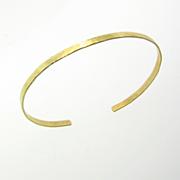 Gold Cuff Bracelet, Thin 14K Gold Hammered Bracelet, 14K Yellow, White, or Rose Gold