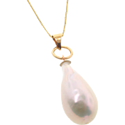 Lustrous White Cultured Baroque Pearl Drop Necklace in 14k Yellow Gold, 18 Inch Box Chain, One of a Kind
