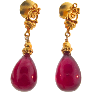 Genuine Ruby Drop Earrings Set in 18k Solid Gold With Ear Posts, 18.72 Carats, One of a Kind