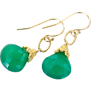 Emerald Green Chalcedony Earrings Set in 24k Gold Plated Vermeil