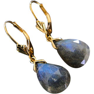 14k Yellow Gold Labradorite Dangle, Drop Earrings With Fleur de Lis Lever Backs, One of a Kind
