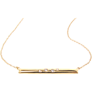 Diamond Bar Necklace, 14k Gold, Diamond Necklace, Long Bar Necklace With Diamonds, 14k Yellow Gold, Rose Gold, or White Gold