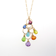 Gemstone Necklace in 14K Gold Filled,  Drop Pendant Multi Gems