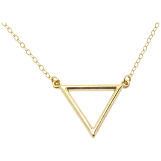 Gold Triangle Necklace, 14k Gold Layering Necklace in Yellow, White, or Rose Gold