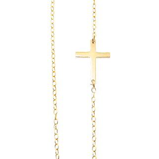 Tiny Sideways Cross Necklace - Off Center, Gold Filled, Sterling Silver, or Rose Gold Filled, Horizontal Cross