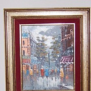 Vintage Street Scene Oil Paris on Canvas Board 1960's Signed Balin