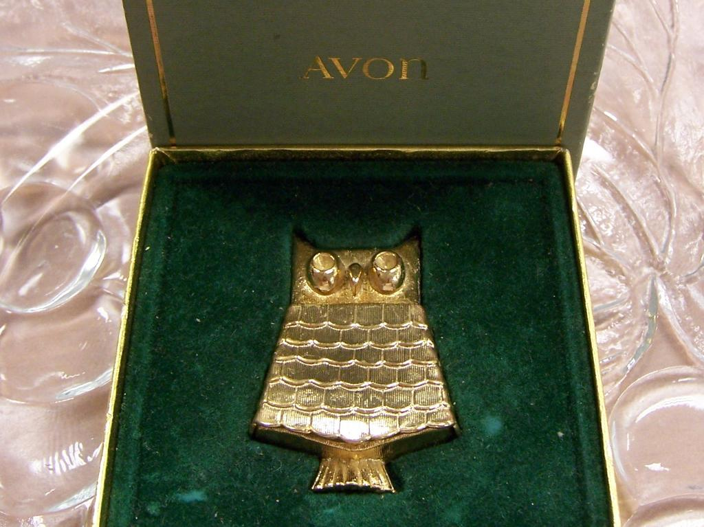 Avon Jeweled Owl Pin Perfume Glace Book Piece
