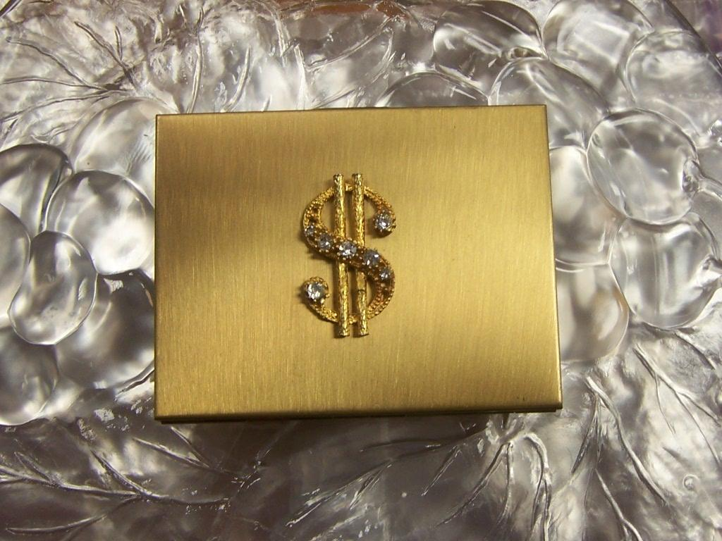 Gold Tone Compact 1950's Show Me the Money , Honey