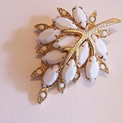 Milk Glass Leaf Brooch