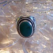 1960's Turquoise  Mexican Sterling Silver Ring