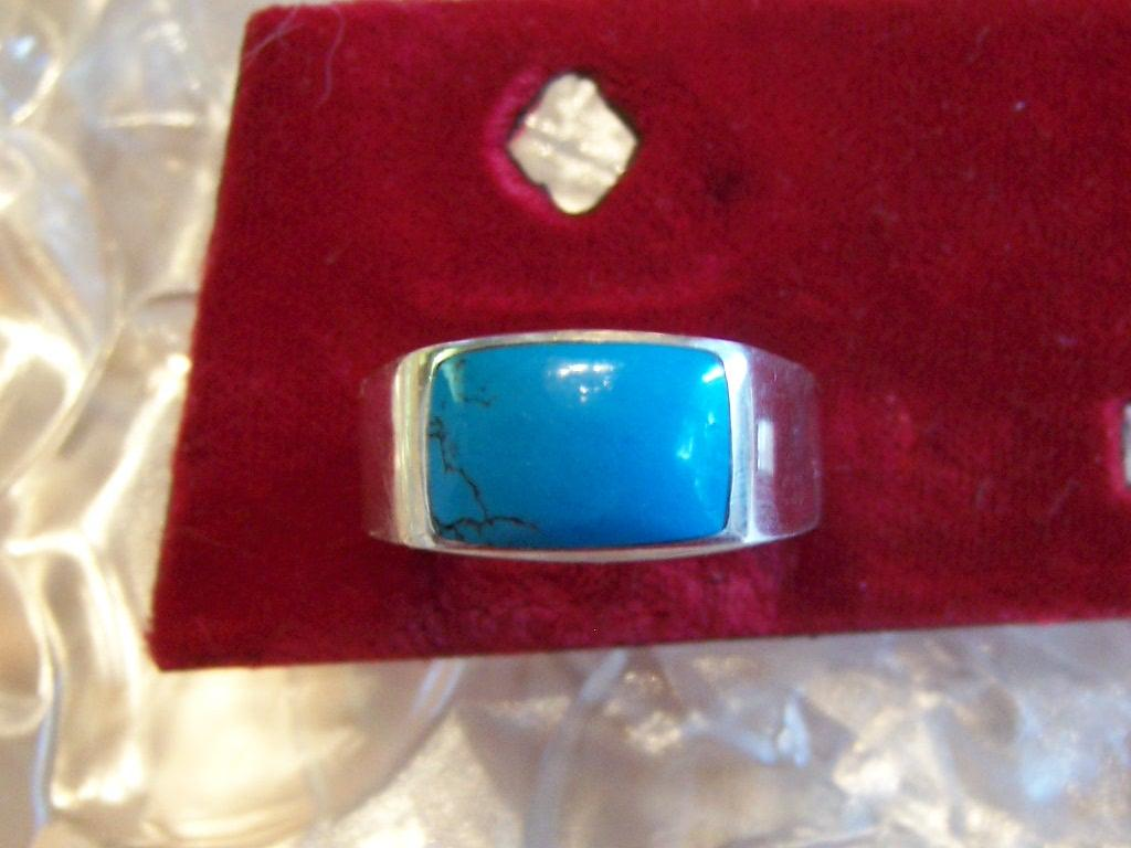 Blue Inlaid Turquoise Ring from the 1980's
