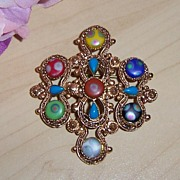 Florenza Brooch Gold tone Baroque Style with Multi-Colored Cabochons