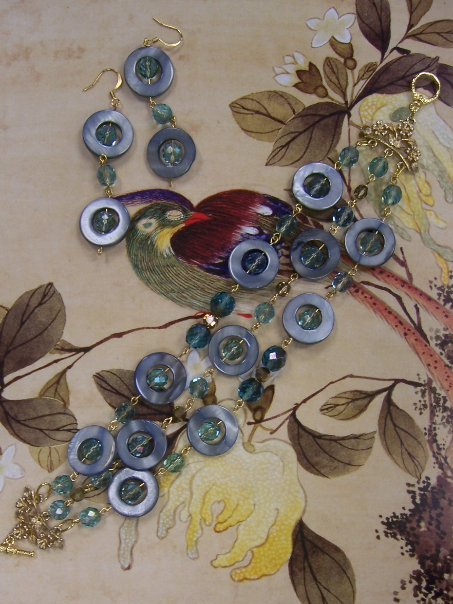 Shell Circles, Czech Glass and Bronze Austrian Crystal Demi Parure