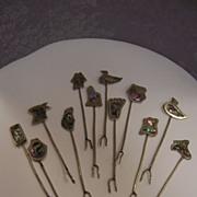 Fondue Appetizer Forks 1950's