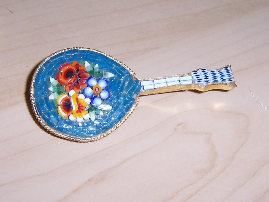 "Micro-mosaic Mandolin Brooch Signed ""Italy"""