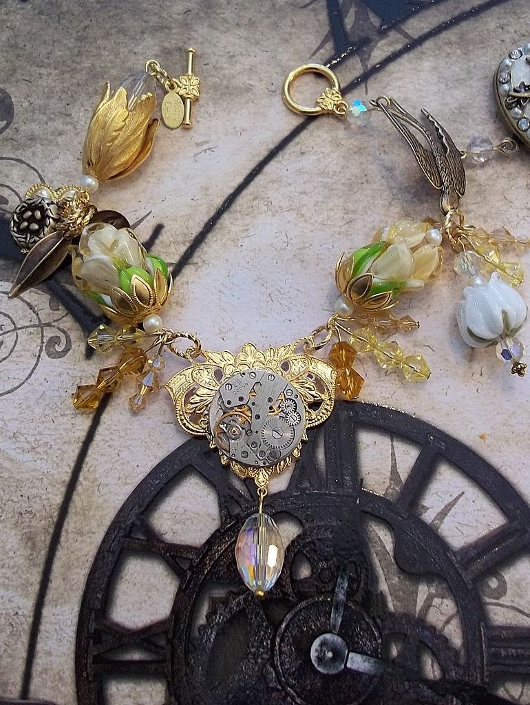 Artisan Steam Punk in the Garden Charm Bracelet