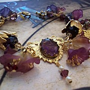 Artisan Steam Punk in the Garden Charm Bracelet in Violet