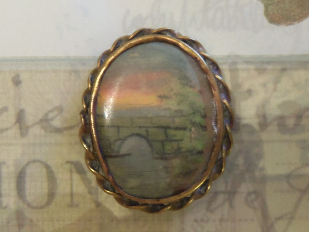 Handpainted Victorian Bridge and Sunset Brooch
