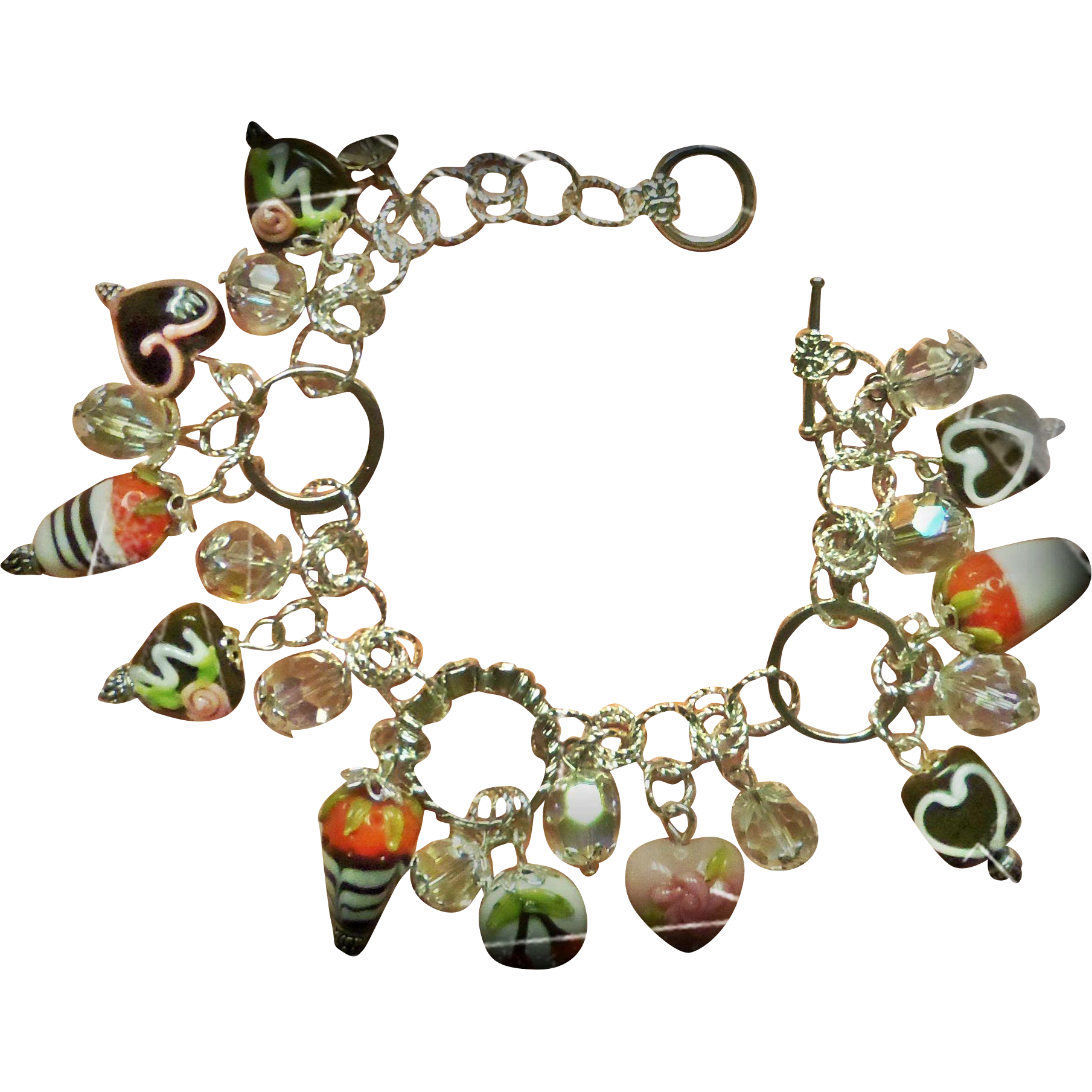Charm Bracelet One of a Kind Lampwork Chocolate and Rings